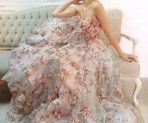 dress, flowers, and beauty image