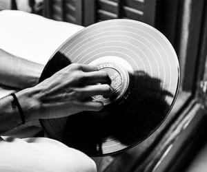black and white, music, and vinyl image