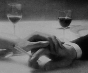 black and white, couple, and wine image