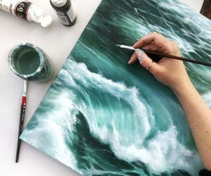 ocean, painting, and wave image