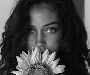 black and white, model, and sun flower image