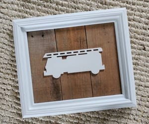 etsy, framed wood sign, and firetruck image