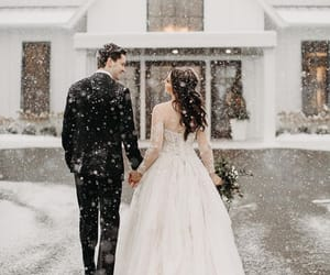 beauty, winter, and bride image