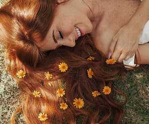 girl, redhead, and flowers image