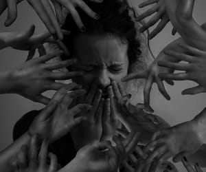 hands, dark, and fear image