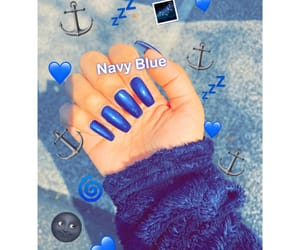 blue nails, coffin, and acrylic nails image