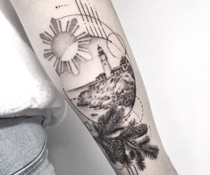 lighthouse, tattoo, and portland head image