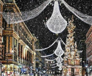 city, cold, and merry christmas image