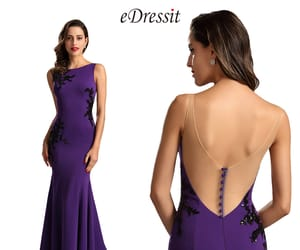 mermaid style, lace evening dress, and deep v back image