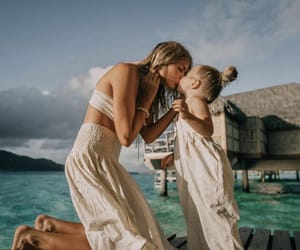beach, daughter, and kiss image