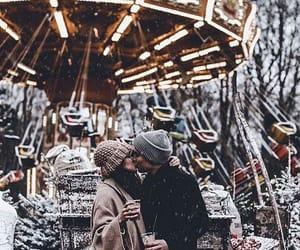 couple, christmas, and snow image