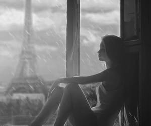 girl, paris, and rain image