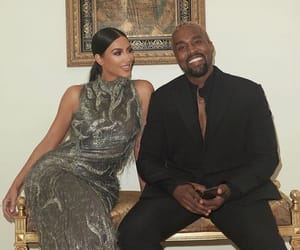 couple, kanye west, and kim kardashian image