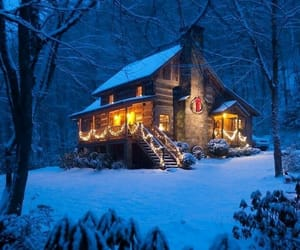log cabin, winter, and home image