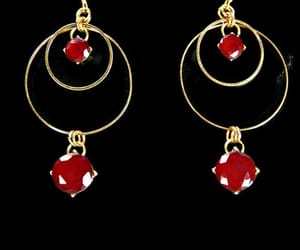 etsy, red, and dangle earrings image