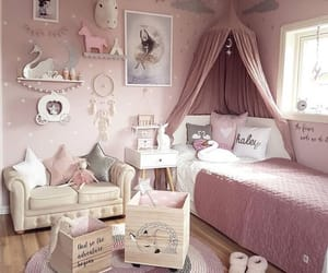 bedroom, child, and pink image