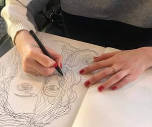 drawing, hands, and red image