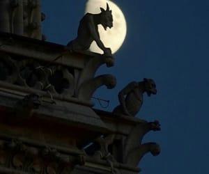gargoyle, moon, and paris image