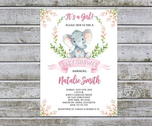 etsy, baby shower invites, and girl elephant image