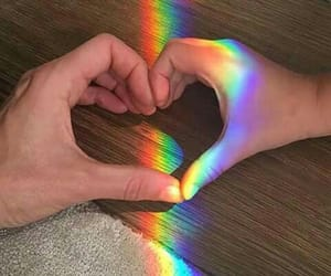 love, rainbow, and couple image