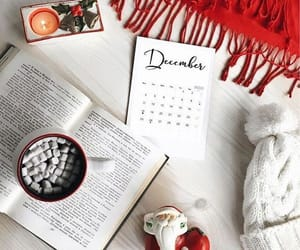 book, christmas, and hot cocoa image