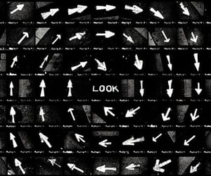 arrows, black and white, and look image