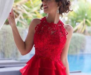 lace homecoming dresses, red lace prom dresses, and prom dresses 2018 image