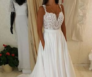 prom dresses, white wedding dress, and lace prom dress image