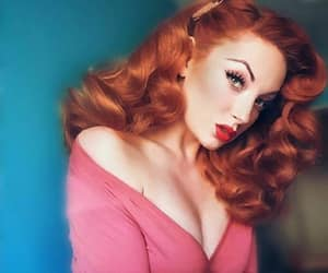 off shoulder, redhead pink top, and pin up vargas girl image