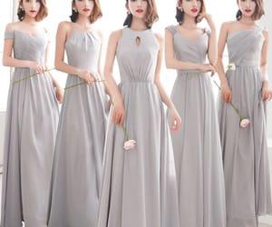 long dress, wedding party dresses, and grey bridesmaid dress image