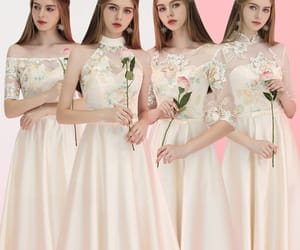 girl, long dress, and wedding party dresses image