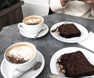 cake, coffe, and drinks image