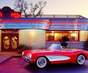 diner, red, and red car image
