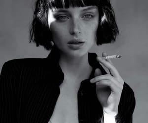 bangs, black and white, and girl image