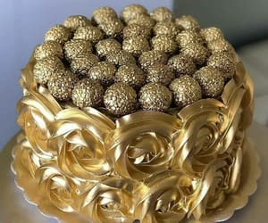 food, cake, and gold image