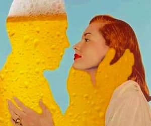 beer, couple, and kiss image