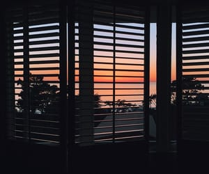 sunset, sky, and window image