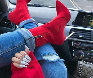 fashion, boots, and red image