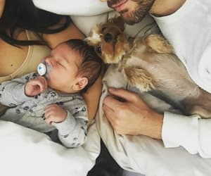 baby, family, and dog image