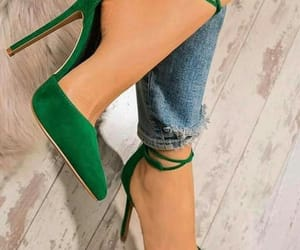 fashionable, highheels, and jeans image