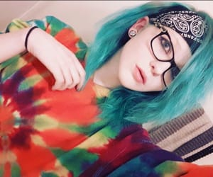 blue hair, emo, and rainbow image