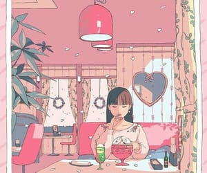 pink, girl, and illustration image