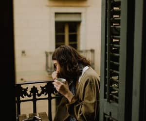 balcony, black tights, and coffee image