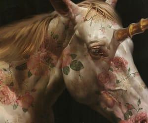 unicorn, flowers, and art image