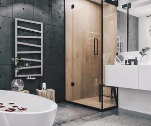 bathroom, bathtub, and decor image