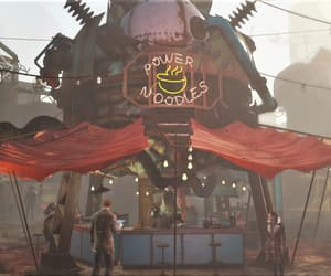 diamond city, power noodles, and dystopian image