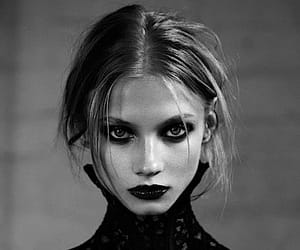 beauty, black and white skinny, and fashion image