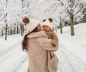 baby, mom, and winter image