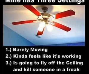 ceiling fan, a fan, and three settings image