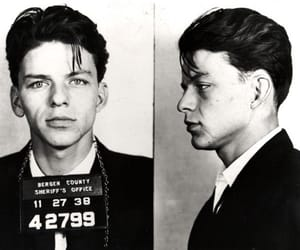 frank sinatra, mugshot, and black and white image